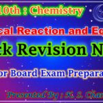 Revision Notes of Chemical Reaction and Equations